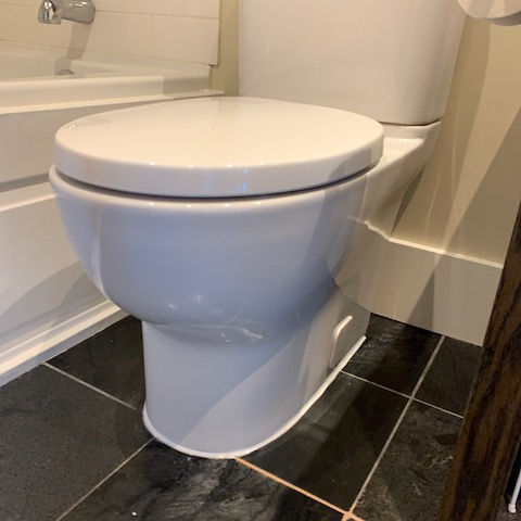 Newly installed high rise toilet